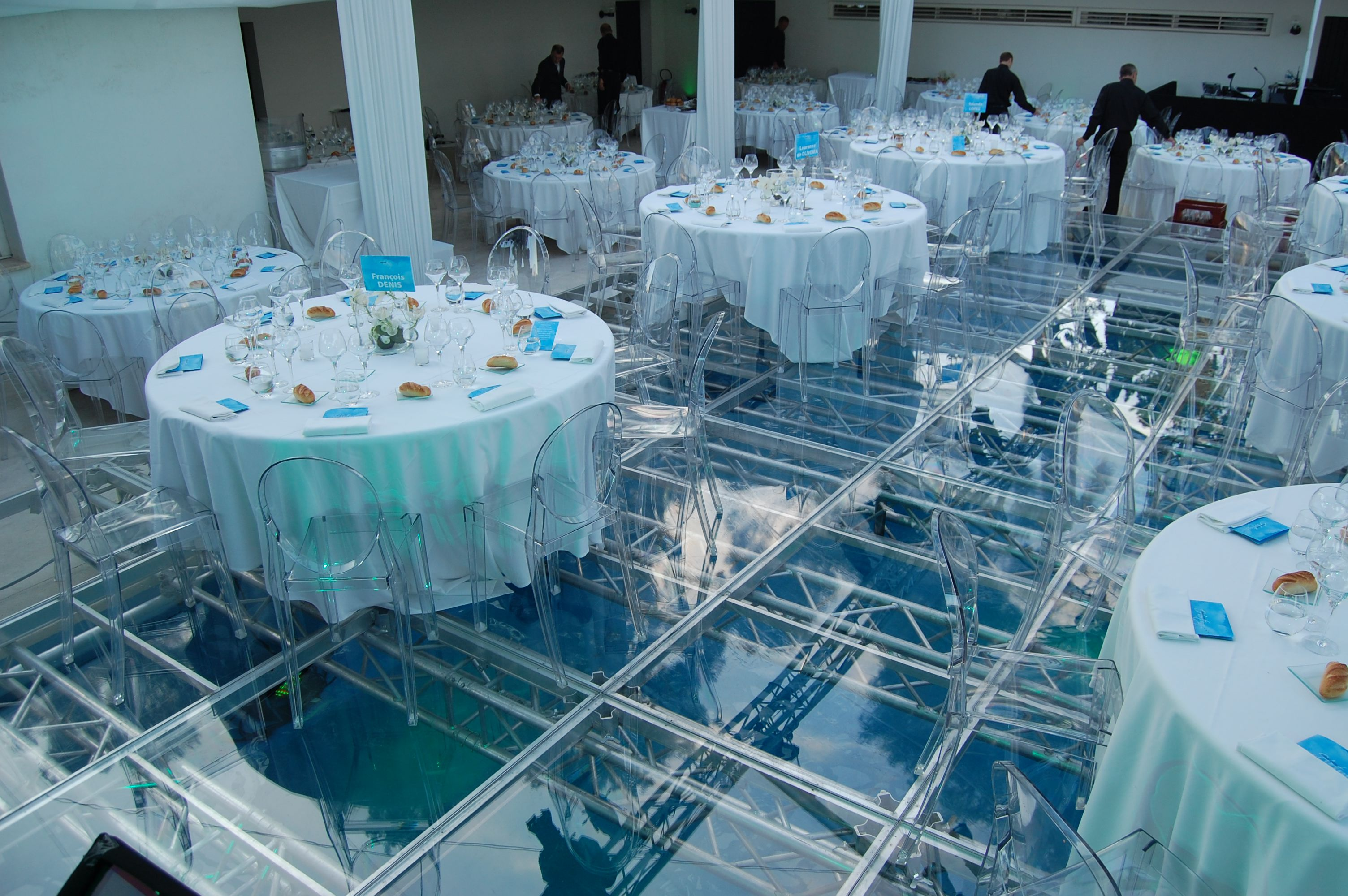 Is A Swimming Pool Or Dance Floor With Adams Catering